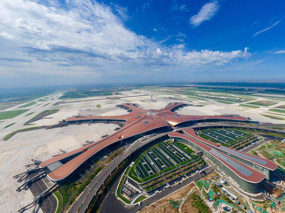 Concept d'économie d'énergie à l'aéroport de Pékin Daxing